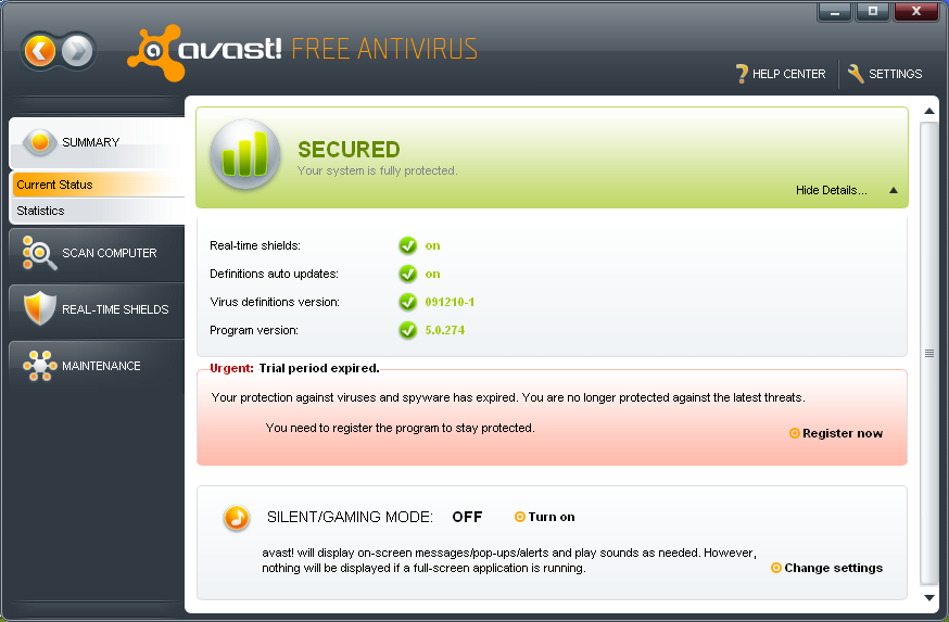 avast home edition 5.0.545