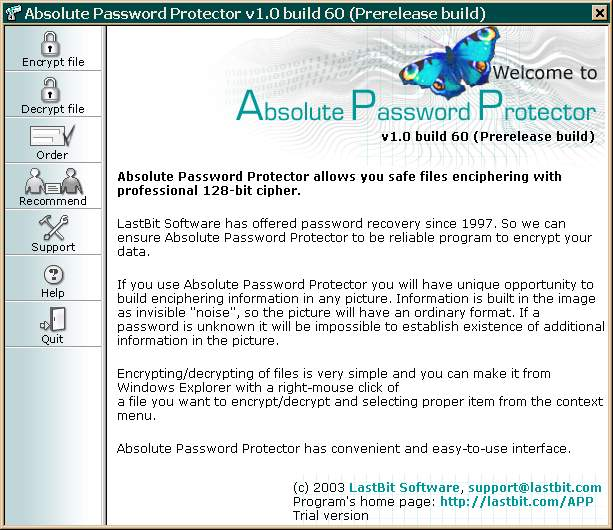 Click here to view more screenshots of Absolute Password Protector