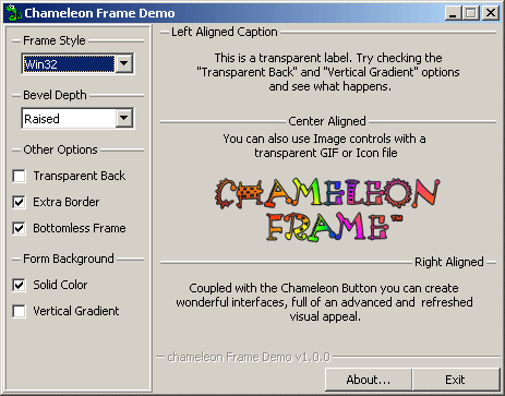 Click here to view more screenshots of Chameleon Frame