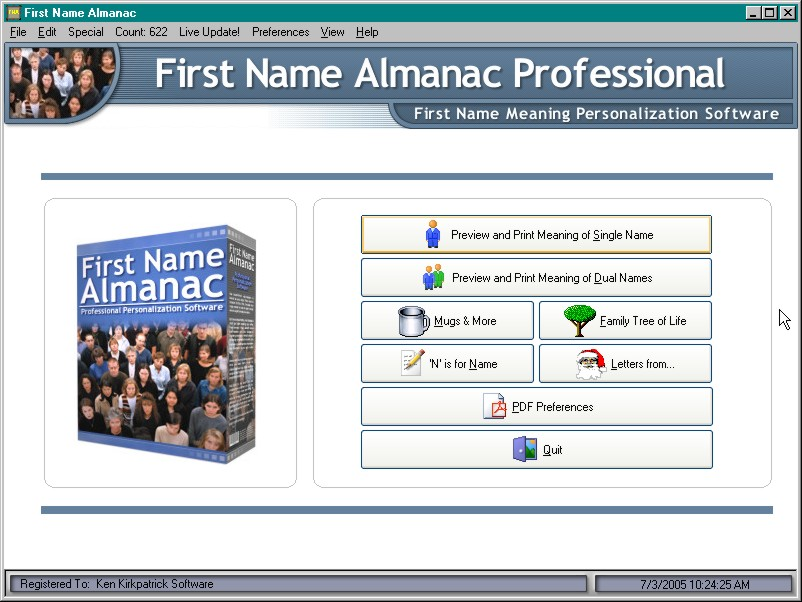Click here to view more screenshots of First Name Almanac