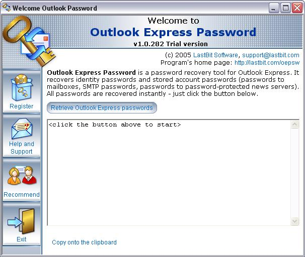 Click here to view more screenshots of LastBit OutlookExpress Password Recovery