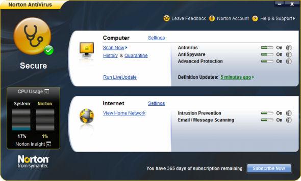 Click here to view more screenshots of Norton Anti Virus