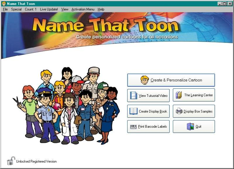 Click here to view more screenshots of Name-That-Toon Personalized Cartoons
