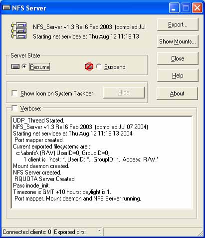 Click here to view more screenshots of NFS client and server for windows ProNFS