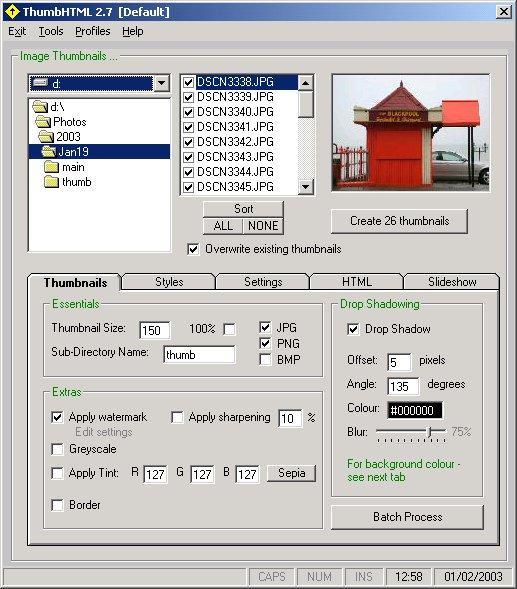 Click here to view more screenshots of ThumbHTML